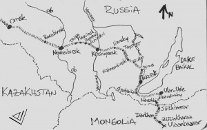 Map Omsk to Ulaanbaatar, our tracks